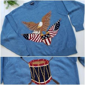 Lands End Vintage Eagle Drum America Sweater sz Lg